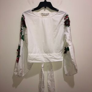 Zara Basic Collection Size XS White Bell Sleeve